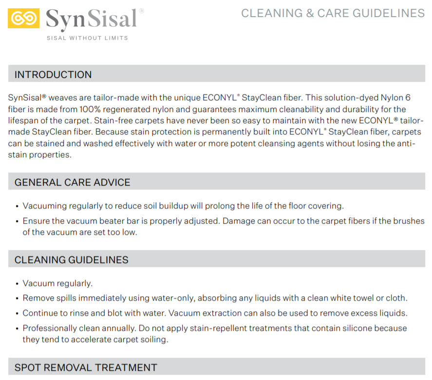 Excerpt of our Cleaning & Care Guide for SynSisal® found at our sisalcarpet.com website.