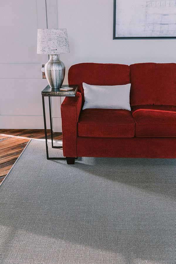 Sisal rug, a natural plant fiber, in a living room setting.