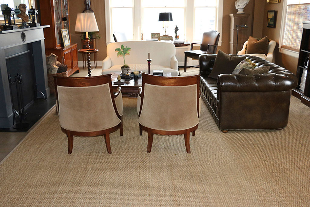 Elegant Calypso seagrass rug in natural for the living room.