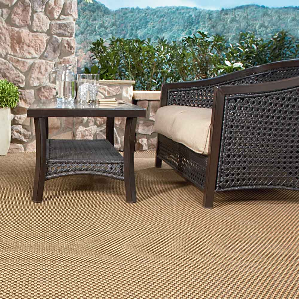 great outdoors: oxford as an outdoor patio rug, in color burnt umber