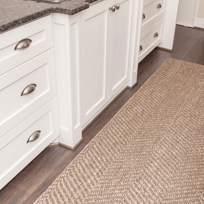 hastings kitchen runner with a serged edge