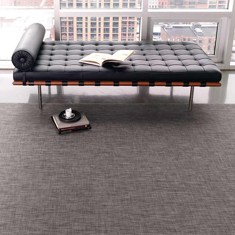 blending in: chilewich basketweave area rug in color carbon