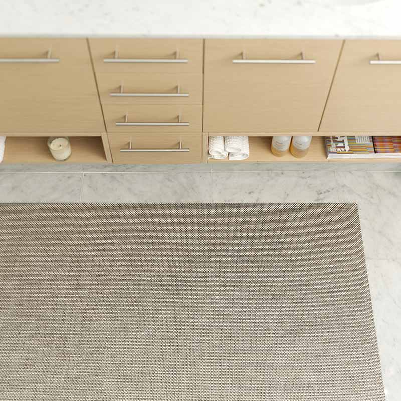 neutral and forgiving: chilewich basketweave's color oyster hides dirt very well