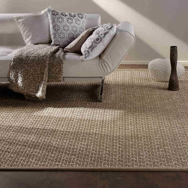 visual texture: bedford as a custom sisal rug with cloth bound edges