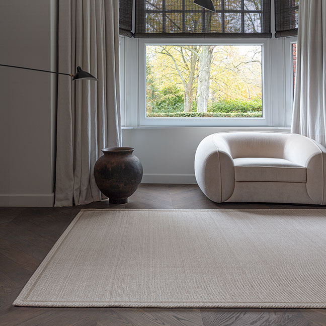 classic & soothing: fjord stripes custom rug completes this sitting room (in color pearl)
