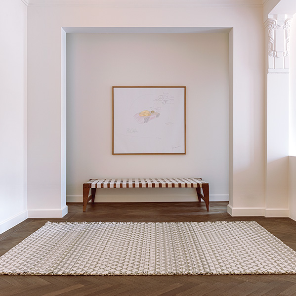 textural & visual appeal: fringe finish with varying yarns capture the eye (fjord urban wool rug in color cedar)