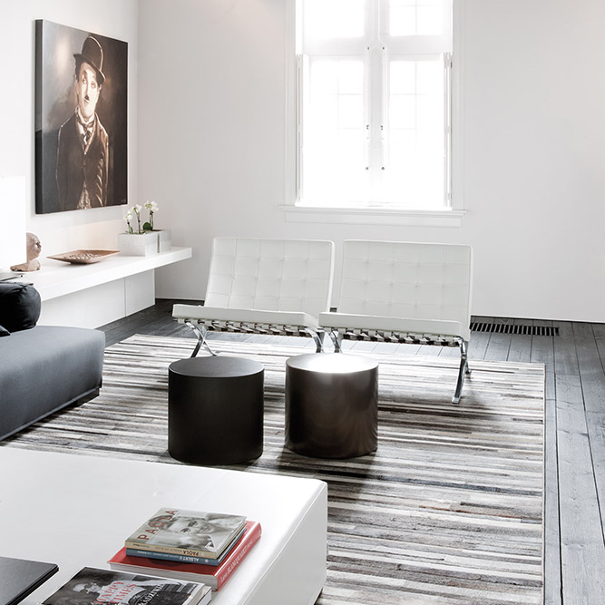 bring a natural & soft element to your space with a flash pieced leather rug