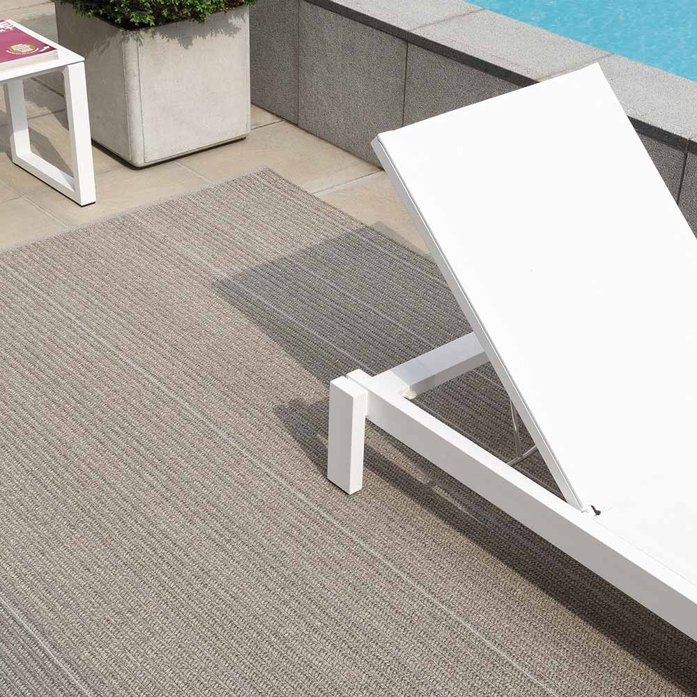 patio rug at the pool in color moon silver
