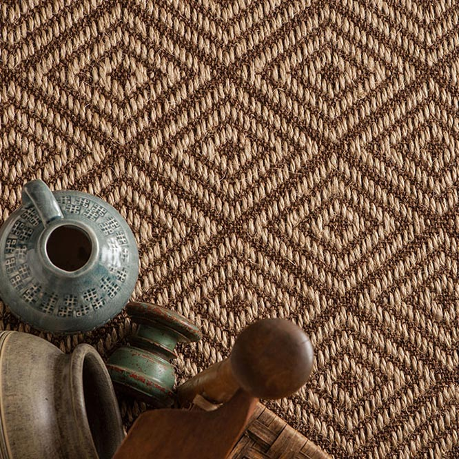 exeter is a marvelous diamond-patterned natural sisal (shown in nutmeg)