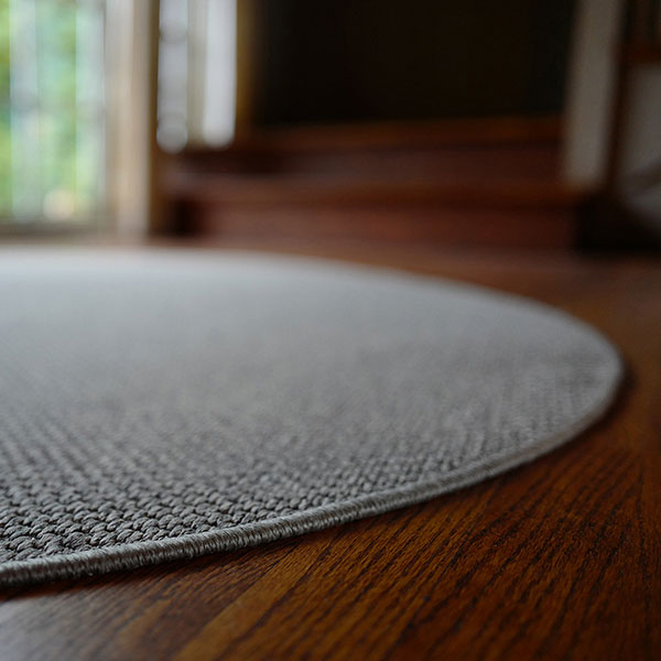 polished finish: langley as a custom circular rug with a serged edge