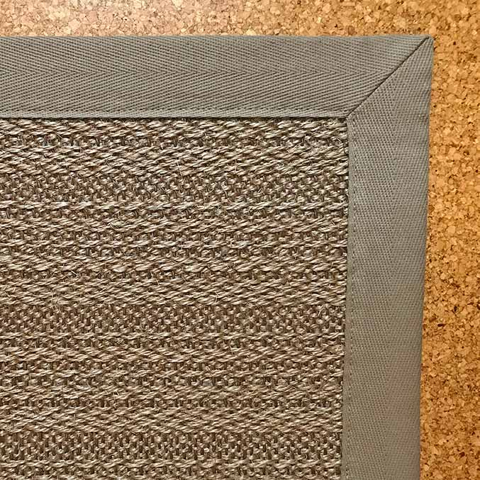 striped lopez: natural sisal area rug in color brown with khaki cotton canvas binding & mitered corners
