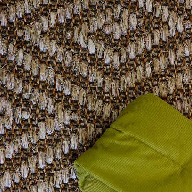close-up of the aesthetic geometric pattern of our long island weave in color tortoise