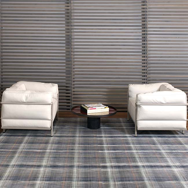 neutral grandness: chilewich plaid as an area rug (in color grey)