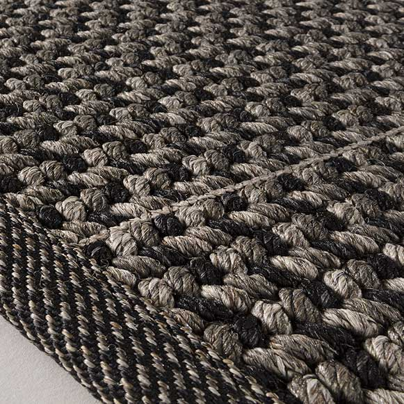 up close: bound edge & braids of patio in color graphite