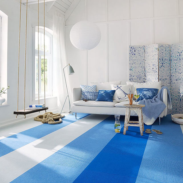 refresh: fun & colorful options for wall-to-wall tile installation in stripes