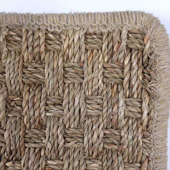 biscayne seagrass rug with a natural wool serged edge