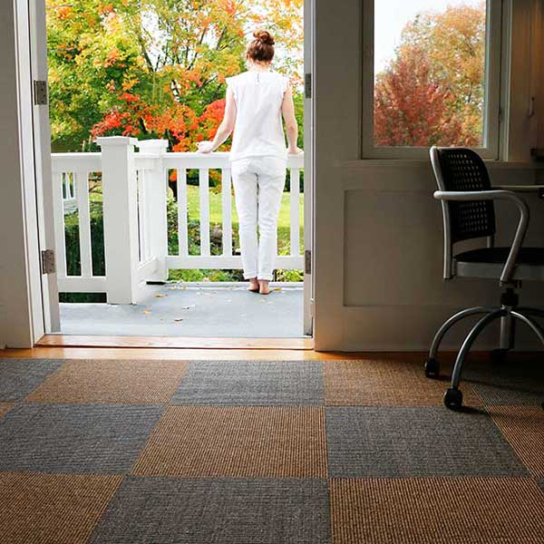 mix and match sisal tiles colors to add dimension to your office flooring (shown in driftwood and sahara)