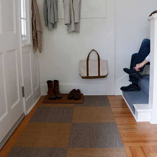 checkerboard style: create visual interest in entry ways, hallways, offices & more (sisal tiles shown in driftwood & sahara)