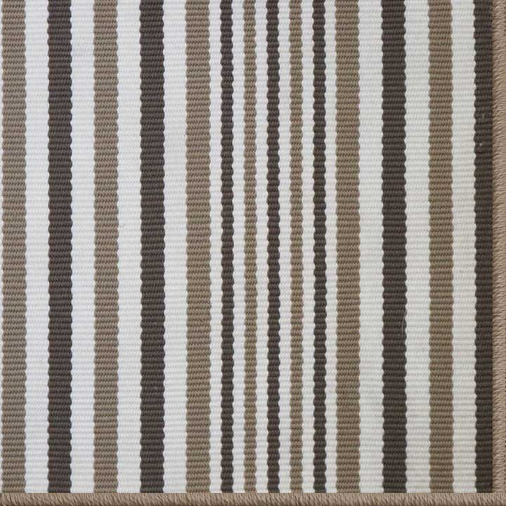 sandpoint in beige stripe with serged edge to match